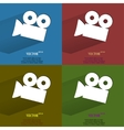 Color set Video-camera Flat modern web button with vector image