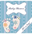 Background with feet baby shower boy vintage vector