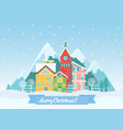flat winter christmas cityscape near vector image