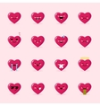 heart emoticons collection Cute emoji set vector image