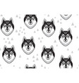 husky or wolf monochrome seamless pattern vector image