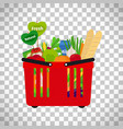 supermarket shopping basket with natural food vector image