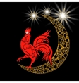 Stylized month with stars 2017 red rooster vector image