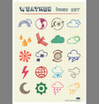 Weather web icons set drawn by color pencils vector image