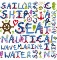 seamless pattern of nautical words vector image