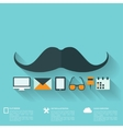 Hipster flat abstract background with web icons vector image