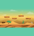 cartoon desert game background with coins vector image