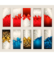 Collection of beautiful gift cards with color gift vector image