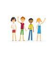 happy standing children - cartoon people vector image
