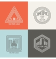 Real estate house linear logos emblems set vector image