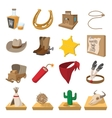 Wild west cowboy cartoon icons vector image