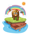 A brown bear and the wooden boat vector image