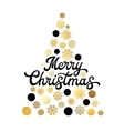 Christmas tree isolated on white with lettering vector image
