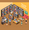 book shop isometric vector image