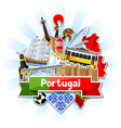 portugal background with stickers portuguese vector image