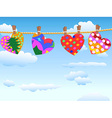 hanging loving hearts in blue sky vector image vector image