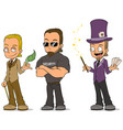 cartoon magician and security characters set vector image