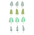 green abstract leaf icons natural set on white vector image