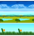Set nature backgrounds horizontal tile patterns vector image