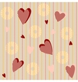 Seamless pattern with striped hearts vector image