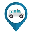 ambulance vehicule pin map icon vector image