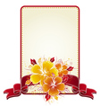 bouquet of hibiscus and rectangular label with red vector image