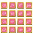 comic colored sound icons pink vector image