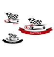 Racing sport emblems with fast cars vector image