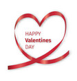red ribbon heart valentine vector image