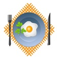Scrambled egg in a bowl with a fork and knife vector image