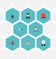 set of crime icons flat style symbols with flasher vector image
