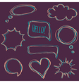 set of hand-drawn speech bubbles vector image