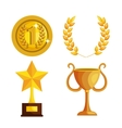set trophies competition awards vector image
