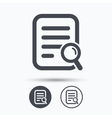 File search icon Document page with magnifier vector image