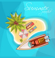 sunbathers on island composition top view vector image