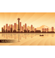 Seattle city skyline silhouette background vector image