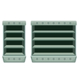 Two vintage racks with empty shelfes vector image vector image