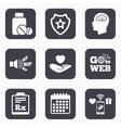 Medicine icons Tablets bottle brain Rx vector image vector image