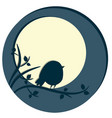 cute bird sitting on tree branch night scene with vector image