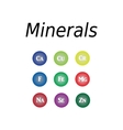 Icons minerals on isolated vector image