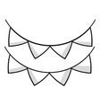 line cute party flag decoration design vector image