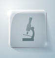 microscope Glass square icon with highlights vector image