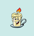 retro candle cute smiley face character vector image