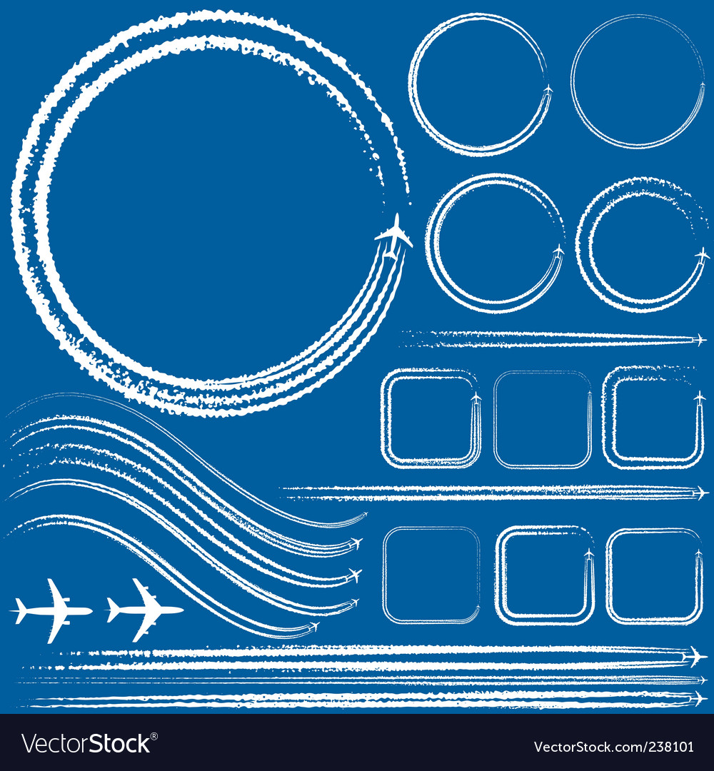 Design elements of jet trails vector