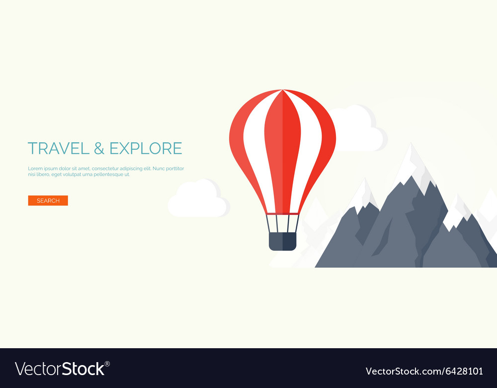 Flat air balloon travel and explore vector