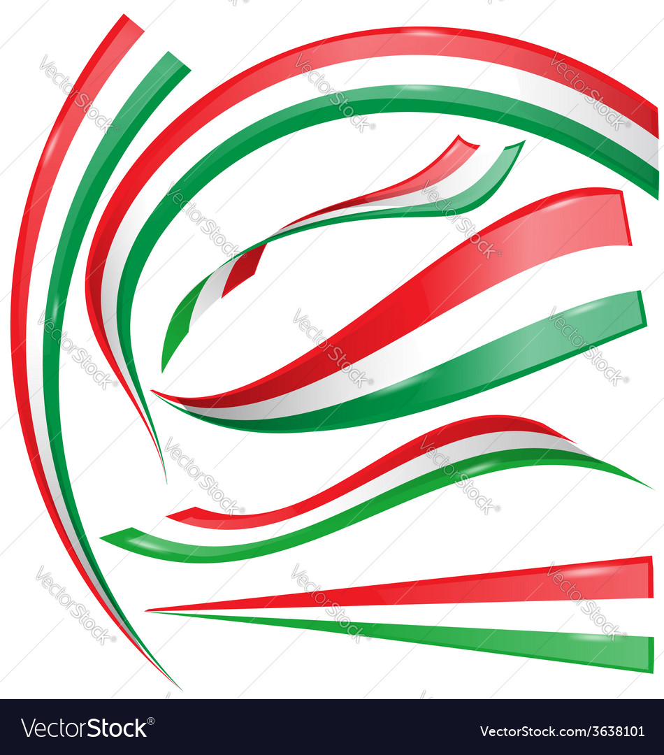 Italian and mexican flag set vector