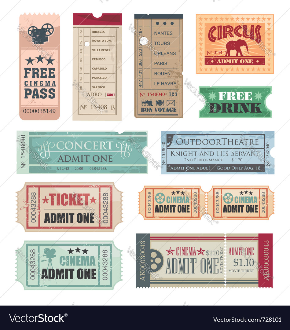 Vintage movie tickets vector