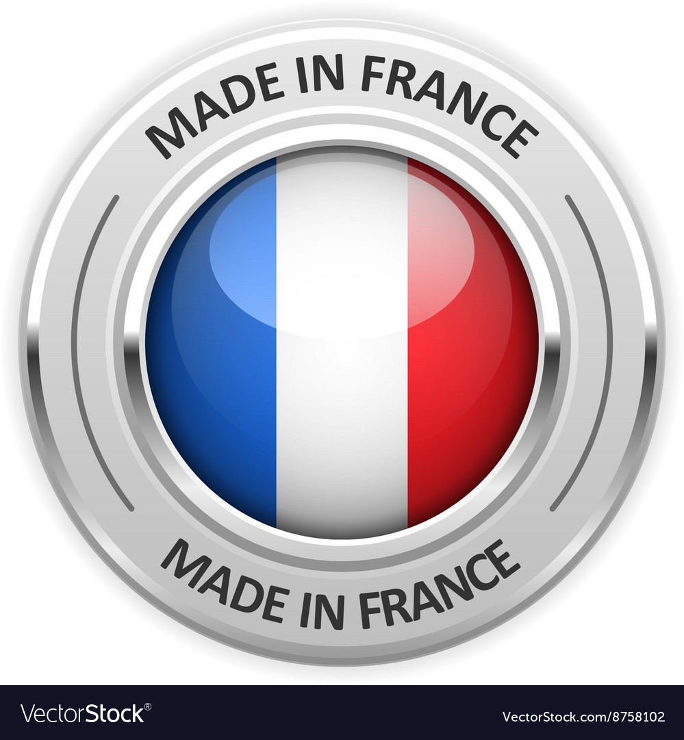 Silver medal made in france with flag vector