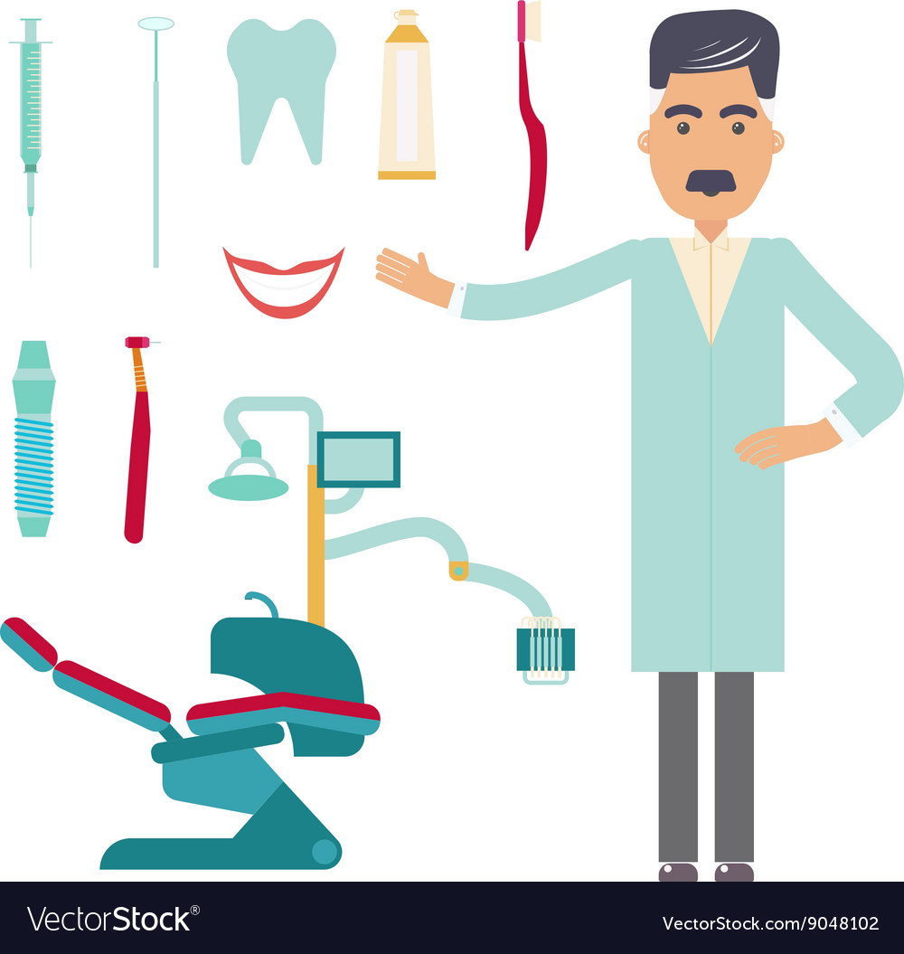 Stomatologist dental care flat decorative icons vector