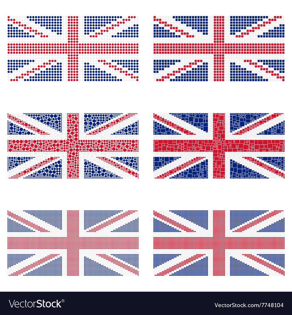 Mosaic united kingdom flag set vector